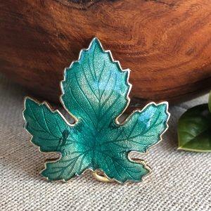 Vintage Teal Enamel Maple Leaf Brooch